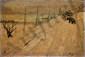 LAGAR Celso, 1891-1966 La route au montreur d'ours huile sur carton, signé en bas à droite,  24 x 33 cm.
