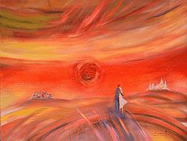 SMET René, né en 1929Le soleil rouge aux amoureuxacrylique sur toile, signée en bas à droite,97 x 130 cm.