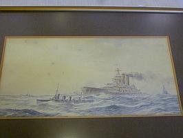 Herbert R. Cole-watercolour Battleship and