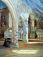 RUDOLF KONOPA (1864-1939) Austrian Church Interior, Rudolf Konopa, Click for value