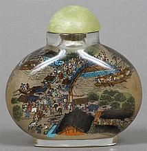 A Chinese inside painted glass snuff bottle and stopper Extensively worked with figures in an urban river landscape.  8.5 cm high.