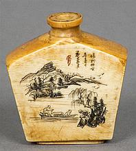 A Chinese ivory snuff bottle Of canted slab form, decorated to the front with figures in a boat before a mountainous landscape with calligraphy, the reverse with calligraphic decorations, dated the Winter Year of Gengzi (1900).   4 cm high.