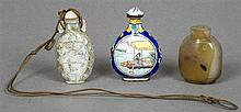 A Chinese carved mother-of-pearl snuff bottle With agate stopper, one side with bird filled vignette, the reverse with floral filled vignette; together with a Canton enamel snuff bottle; and a Chinese hardstone snuff bottle. The former 5.5 cm high.