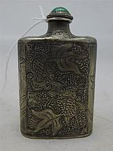 A Chinese silver snuff bottle Decorated with fish and lilies, with a jade cabochon mounted stopper, the underside marked.  6 cm high.