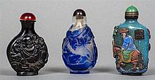 Two vintage Beijing glass snuff bottles and another Including an unusual multi-coloured overlay snuff bottle decorated with a figure on horseback, a bat and a square seal mark, the reverse with a figure and birds amongst a floral landscape. 8.25 cm