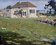 *ARR FREDERICK HALL (1860-1948) British A Summers Garden Oil on board Signe