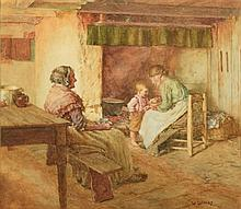 WALTER LANGLEY (1852-1922) British The New Arrival Watercolour Signed  35 x
