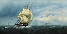 CHARLES TAYLOR Junior (flourished 1841-1883) British Tall Ship in Full Sail with a Steam Boat Beyond Watercolour Signed 69.5 x 37 cm, framed and glazed