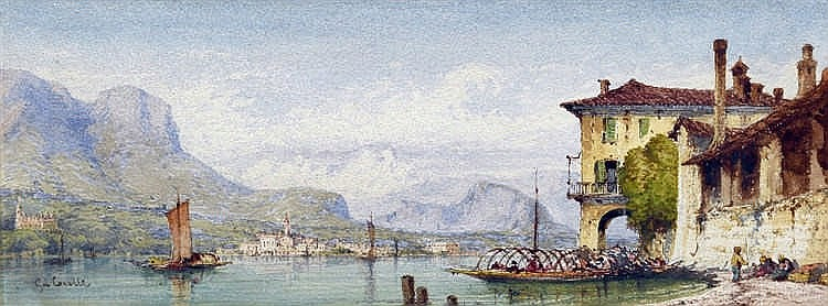 GABRIEL CARELLLI (1820-1880) Anglo-Italian Italian Lake Scene Watercolour Signed 32 x 12 cm, framed and glazed