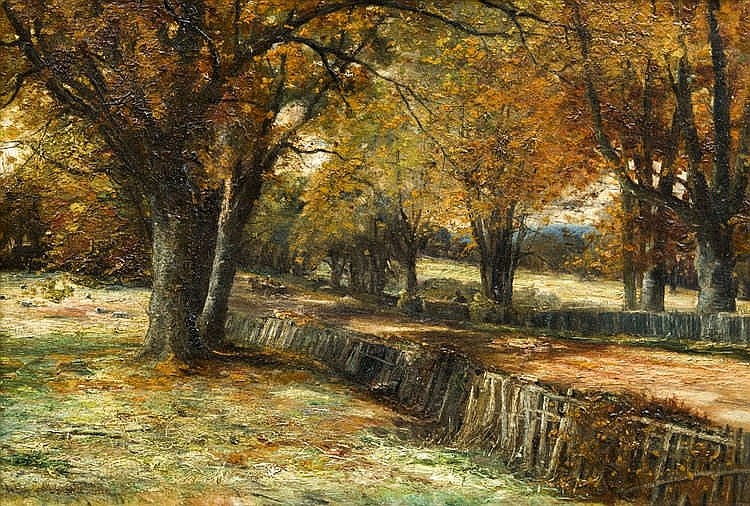 JOHN CAIRNEY (19th century) British Country Path Oil on canvas Signed and dated 90 58 x 40 cm, framed