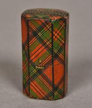 A Victorian tartan ware needle case Decorated in the Stuart Tartan, the rem