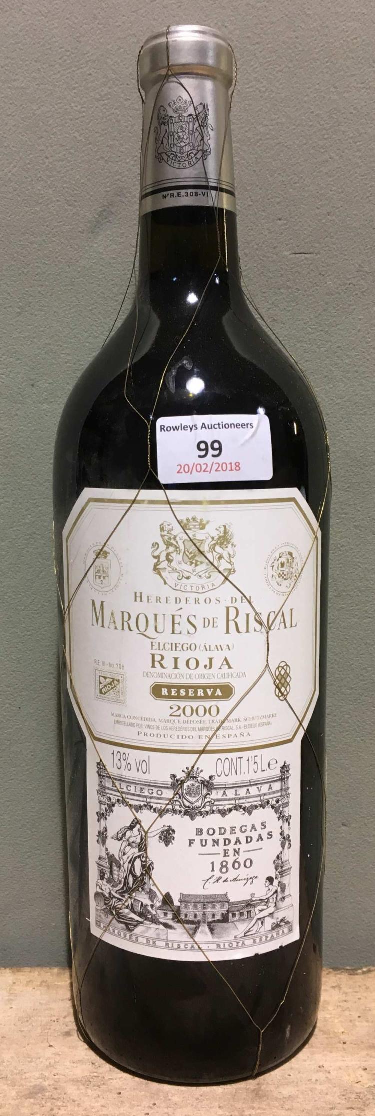 Marques de riscal rioja reserva 2000 single magnum for Marques de riscal rioja