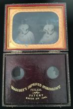 A 19th century Mascher's Improved Stereoscope ambrotype photographic po