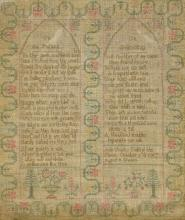 An early 19th century needlework sampler Worked with text on an infant and