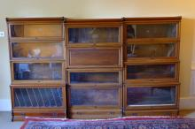 An early 20th century mahogany Globe Wernicke triple stacking bookcase With