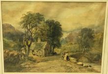 DAVID COX Junior (1809-1885) British Bridge at Beddgelert, North Wales Wate