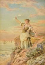 CHARLES PYNE (born 1842) British The Sailor's Wife Farewell Watercolour Sig
