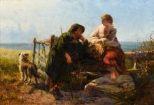 Attributed to JAMES JOHN HILL (1811-1882) British Rustic Courtship Oil on c