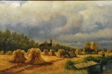 After HENRY H PARKER (1858-1930) British A Break From Harvest  Oil on canva