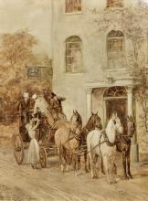WILLIAM HENRY WHEELWRIGHT (19th century) British Coaching Scenes En grisail