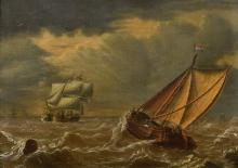 ENGLISH SCHOOL (19th century) Shipping in Choppy Waters Oil on panel 34 x 2