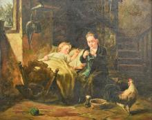 EDGAR WALSH (20th century) British Mother and Child in a Cottage Interior O