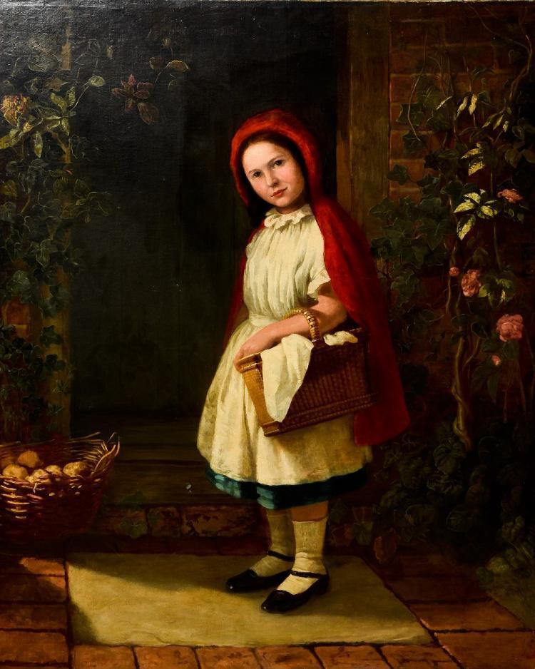 JOHN TALBOT ADAMS (19th/20th century) British Little Red Riding Hood Oil on