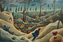 BOURMOND BYRON (1920-2004) Haitian (JACMEL) Figure Resting in a Landscape O
