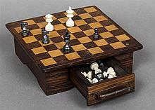 An ivory and stained ivory Staunton pattern chess set, circa 1900 One side