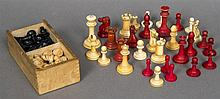 A Jacques ivory and stained ivory chess set, circa 1900 The white King stam