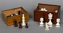 A late 19th century ivory chess set Both sides unstained, one side with two