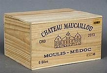 Chateau Maucaillou Moulis-Medoc, 2013 Six bottles in old wooden case.  (6)