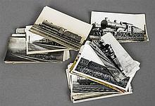 A collection of various photographs and postcards Each pertaining to railwa