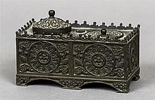 A 19th century Continental Empire inkwell Of florally cast rectangular form