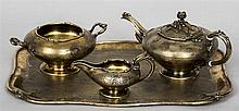 A French silver gilt three piece tea set and tray, with 950 Minerva's Head