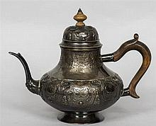 A 19th century Hanau silver teapot and cover, indistinct hallmarks to base