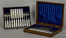 A set of Victorian and later silver fruit knives and forks, hallmarked Shef
