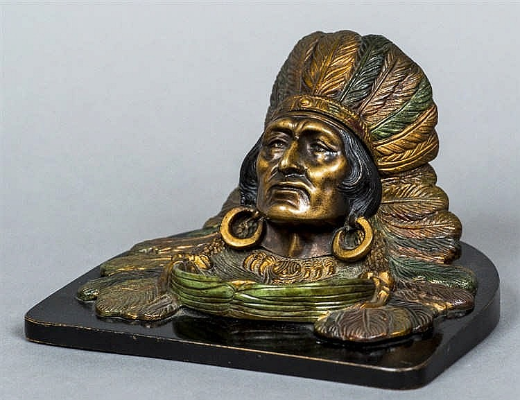 A Continental cold painted bronze inkwell Worked as a Native American weari
