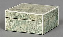 An Art Deco shagreen and ivory box Of hinged form, the leather underside st