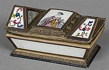 A Regency decalcomania decorated casket The shaped hinged lid with floral a