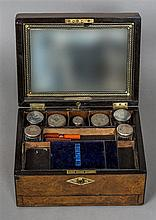 A Victorian burr walnut gentleman's travelling box The case with mother-of-
