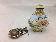 A Chinese enamelled snuff bottle and stopper Worked with children herding g