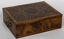 A 19th century laburnum oyster veneered box The line inlaid crossbanded oys