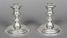 A pair of Gorham Sterling dwarf candlesticks Marked to base and numbered 11