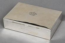 A 900 silver cigar box gifted by King Hussein of Jordan  Of rectangular for