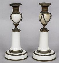 A pair of Grand Tour candlesticks Each urn shaped porcelain body with bronz