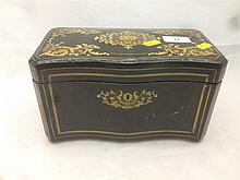 A 19th century French caddy/cigar box Of serpentine form, with brass, ivory