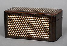 A 19th century French mother-of-pearl inlaid tea caddy Of canted rectangula