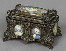 A 19th century painted miniature inset bronze casket The hinged lid inset w