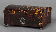 A George III unmarked silver mounted tortoiseshell casket Of hinged domed f